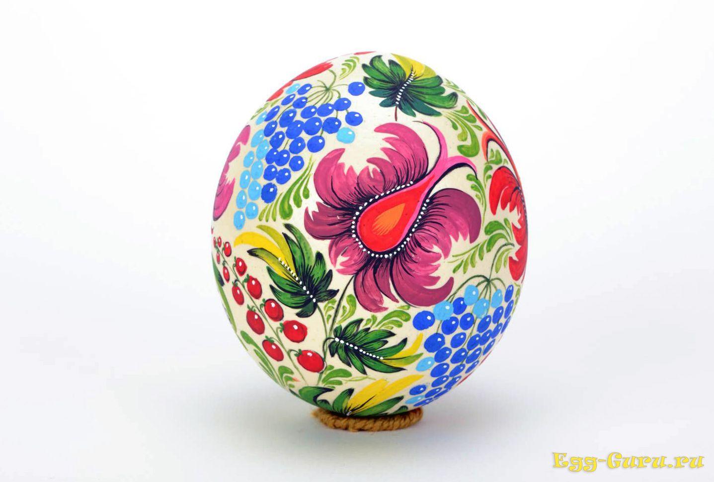 как украсить яйцо страуса