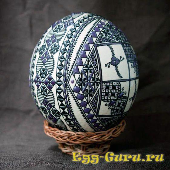 украшение яйца страуса воском