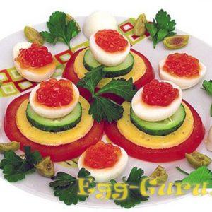 Перепелиные яйца, фаршированные красной икрой